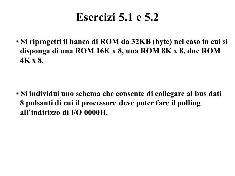Esercizi 5.1 e 5.2 Si riprogetti il banco di ROM da 32KB (byte) nel caso in cui si. disponga di una ROM 16K x 8, una ROM 8K x 8, due ROM.
