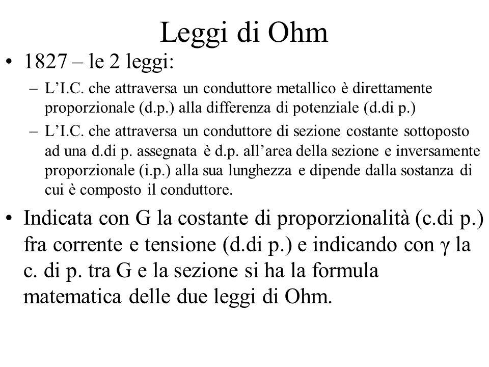 Leggi di Ohm 1827 – le 2 leggi: