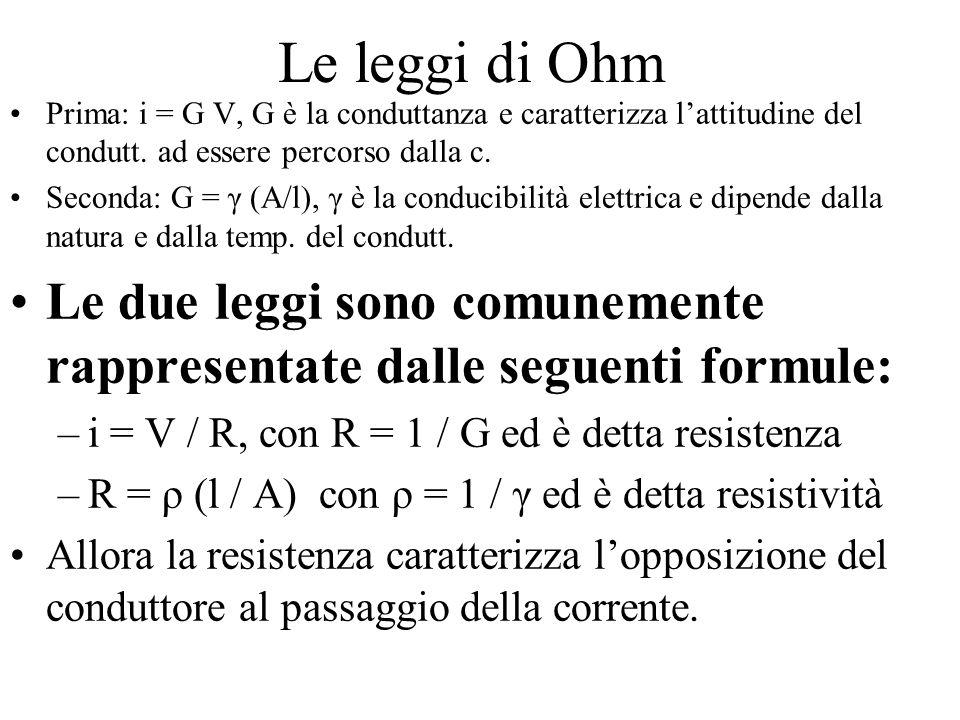 Le leggi di Ohm Prima: i = G V, G è la conduttanza e caratterizza l'attitudine del condutt. ad essere percorso dalla c.