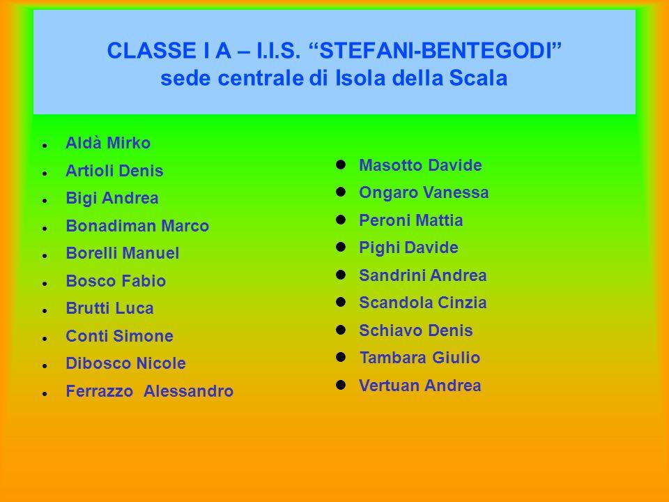 CLASSE I A – I.I.S. STEFANI-BENTEGODI sede centrale di Isola della Scala