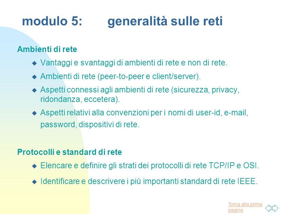 modulo 5: generalità sulle reti
