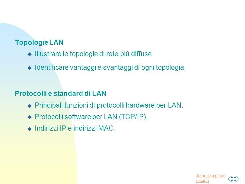 Topologie LAN Illustrare le topologie di rete più diffuse. Identificare vantaggi e svantaggi di ogni topologia.