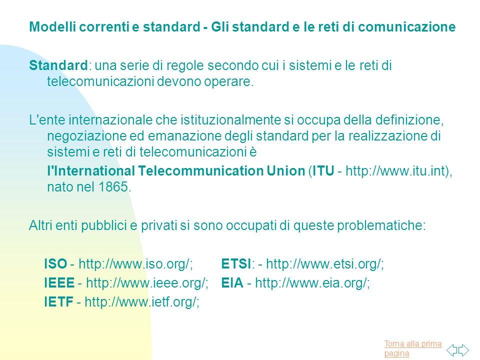 Modelli correnti e standard - Gli standard e le reti di comunicazione