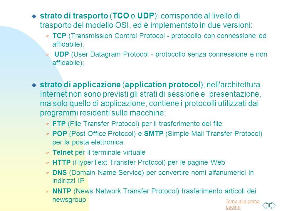 strato di trasporto (TCO o UDP): corrisponde al livello di trasporto del modello OSI, ed è implementato in due versioni: