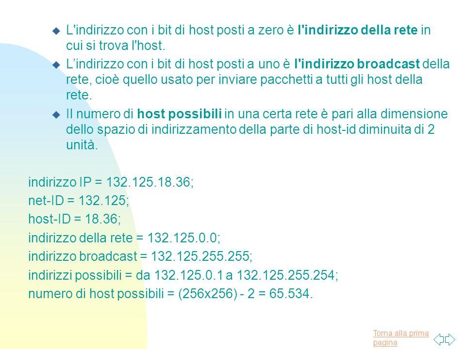 L indirizzo con i bit di host posti a zero è l indirizzo della rete in cui si trova l host.