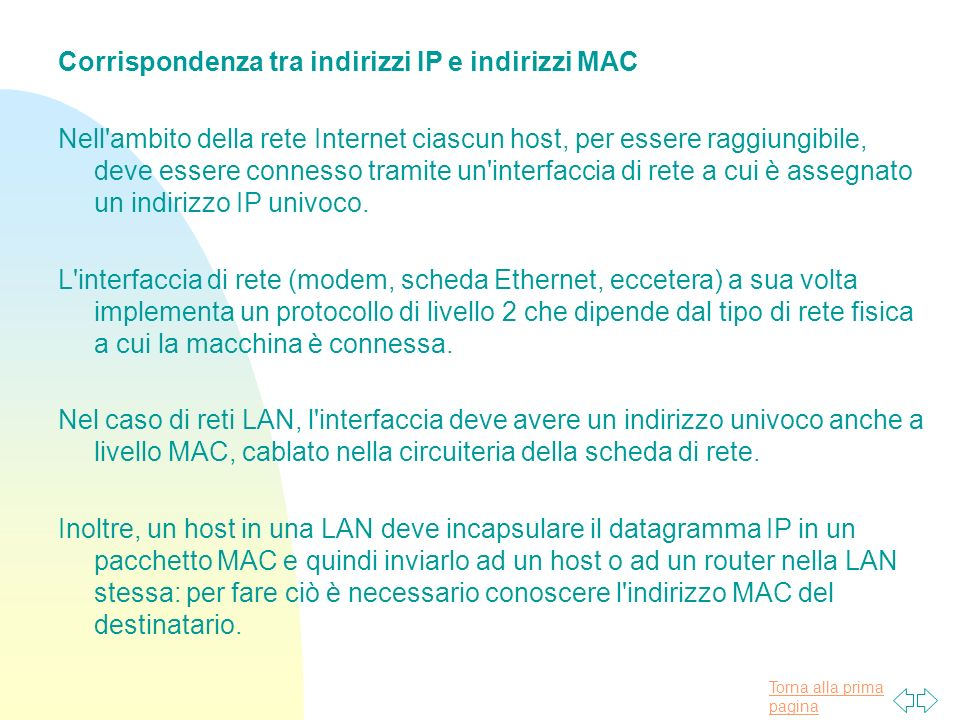 Corrispondenza tra indirizzi IP e indirizzi MAC