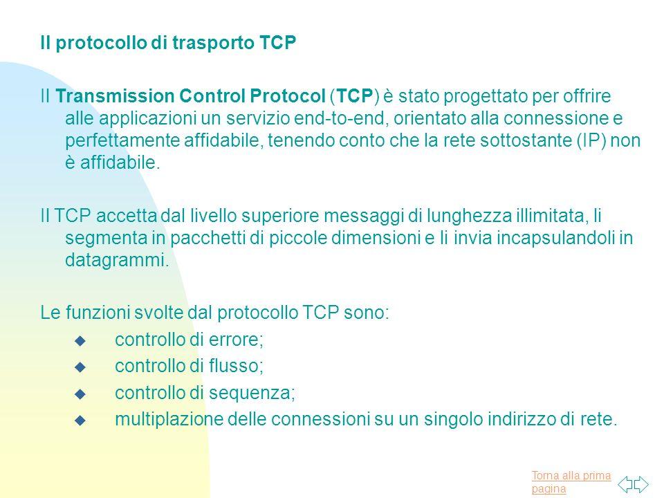Il protocollo di trasporto TCP