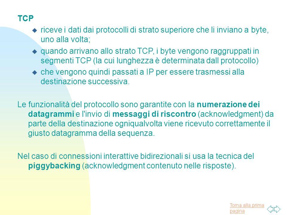 TCP riceve i dati dai protocolli di strato superiore che li inviano a byte, uno alla volta;