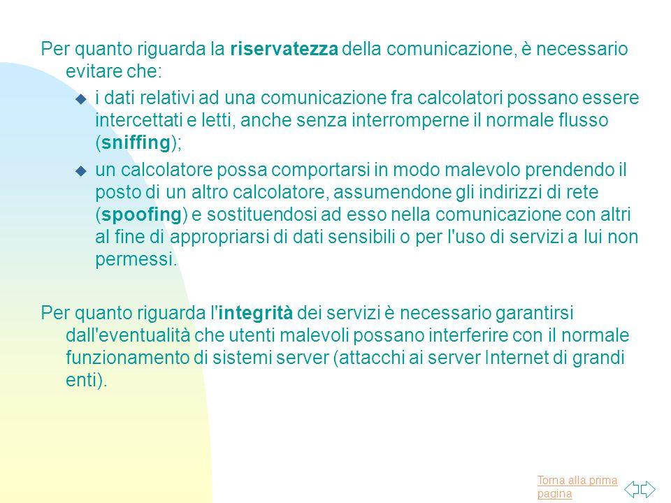 Per quanto riguarda la riservatezza della comunicazione, è necessario evitare che: