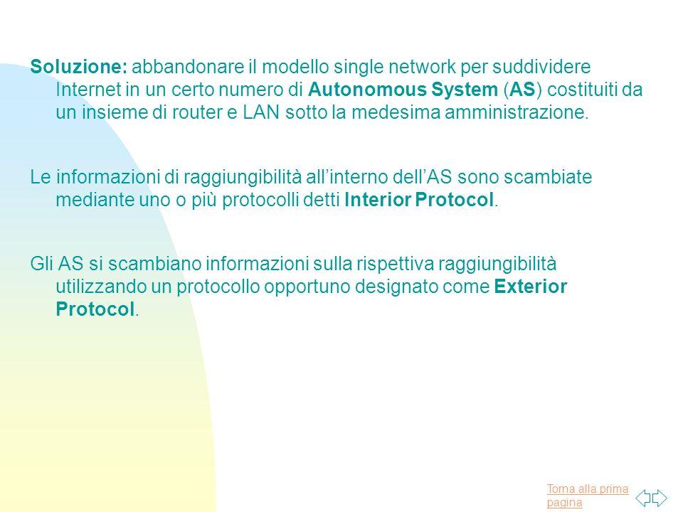 Soluzione: abbandonare il modello single network per suddividere Internet in un certo numero di Autonomous System (AS) costituiti da un insieme di router e LAN sotto la medesima amministrazione.