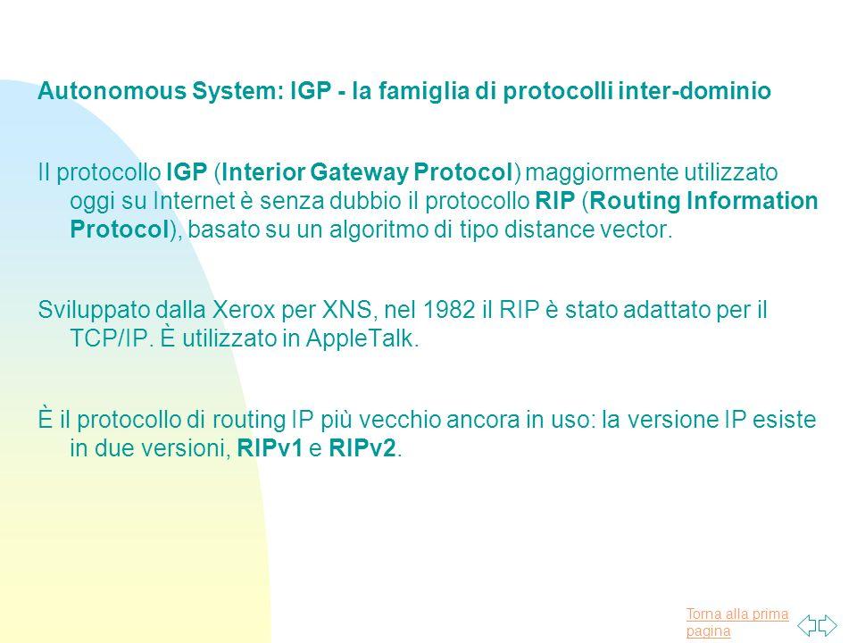 Autonomous System: IGP - la famiglia di protocolli inter-dominio