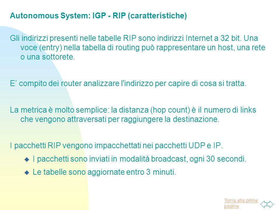 Autonomous System: IGP - RIP (caratteristiche)