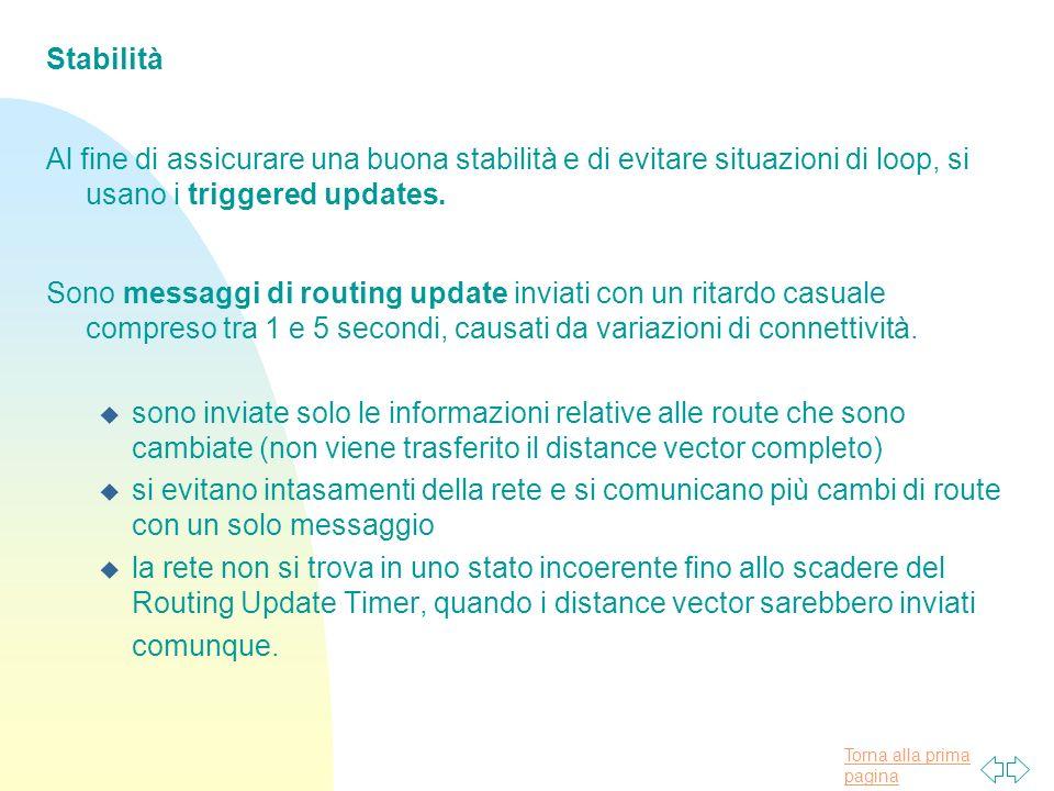 Stabilità Al fine di assicurare una buona stabilità e di evitare situazioni di loop, si usano i triggered updates.