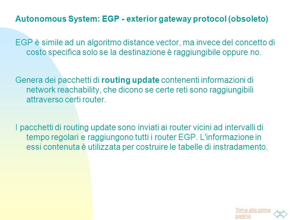 Autonomous System: EGP - exterior gateway protocol (obsoleto)