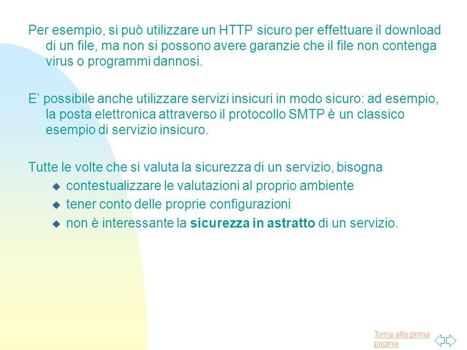 Per esempio, si può utilizzare un HTTP sicuro per effettuare il download di un file, ma non si possono avere garanzie che il file non contenga virus o programmi dannosi.