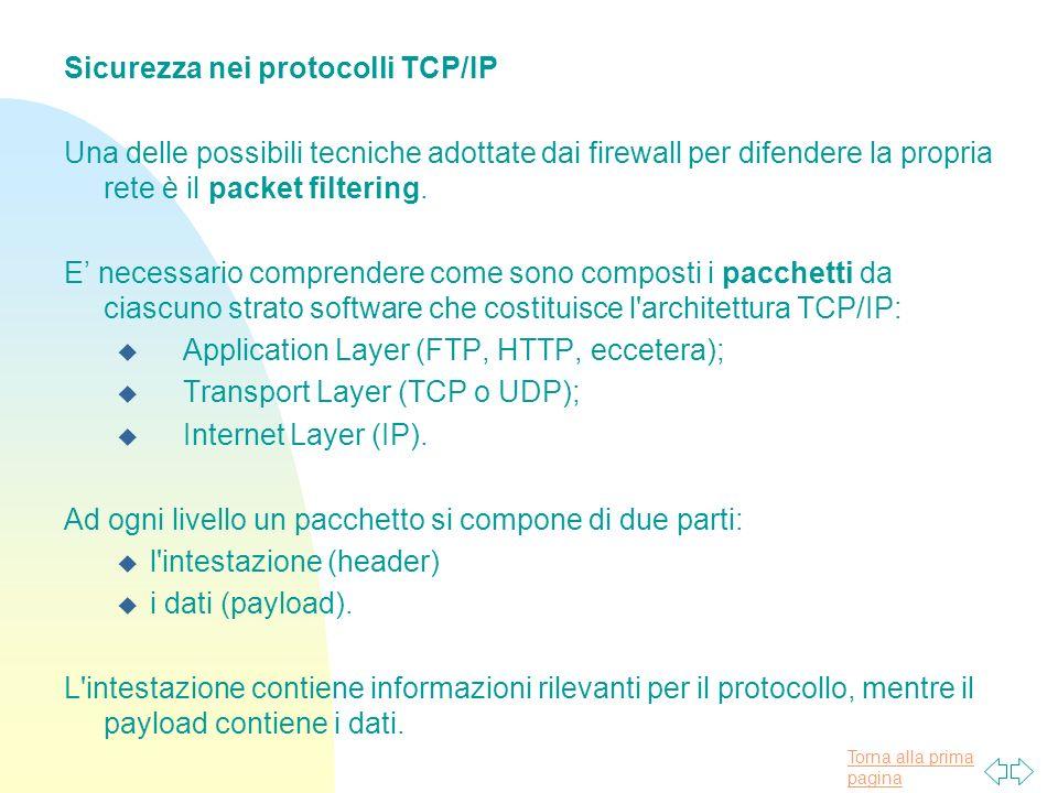 Sicurezza nei protocolli TCP/IP