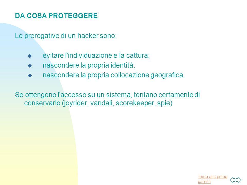 DA COSA PROTEGGERE Le prerogative di un hacker sono: evitare l individuazione e la cattura; nascondere la propria identità;