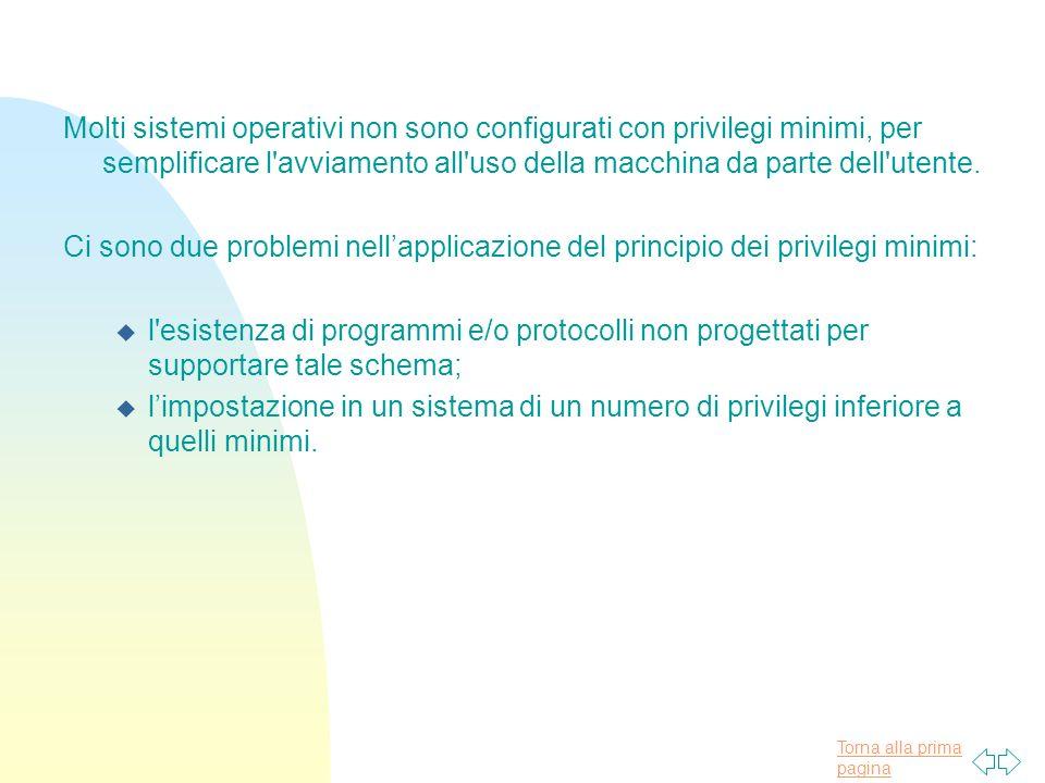 Molti sistemi operativi non sono configurati con privilegi minimi, per semplificare l avviamento all uso della macchina da parte dell utente.