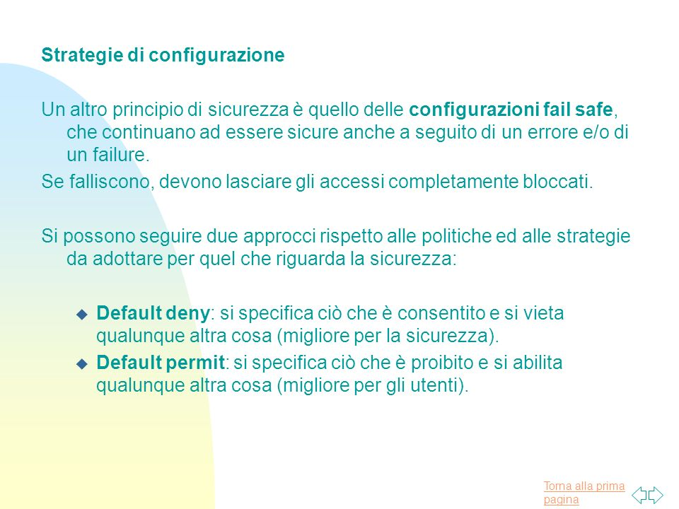 Strategie di configurazione