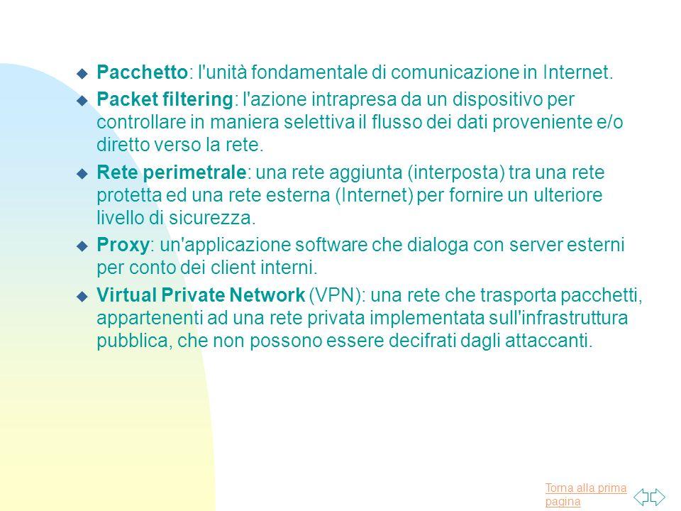 Pacchetto: l unità fondamentale di comunicazione in Internet.