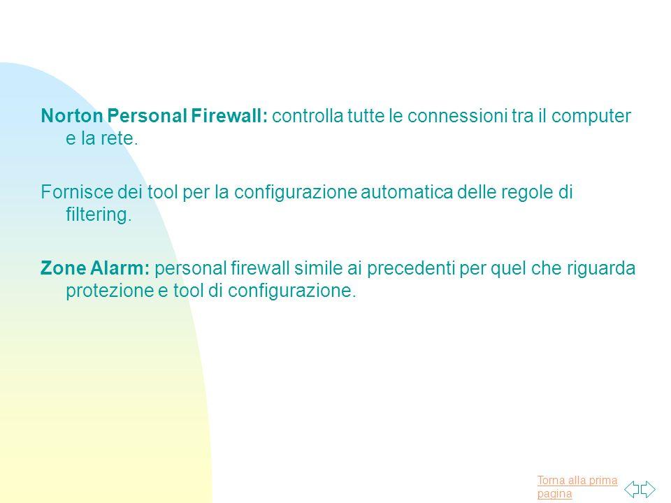 Norton Personal Firewall: controlla tutte le connessioni tra il computer e la rete.