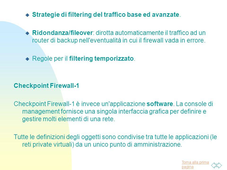 Strategie di filtering del traffico base ed avanzate.