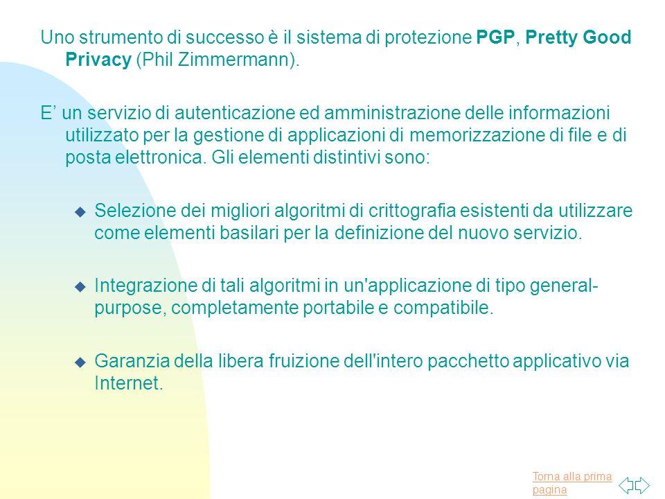 Uno strumento di successo è il sistema di protezione PGP, Pretty Good Privacy (Phil Zimmermann).