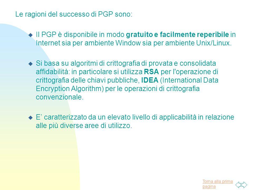 Le ragioni del successo di PGP sono: