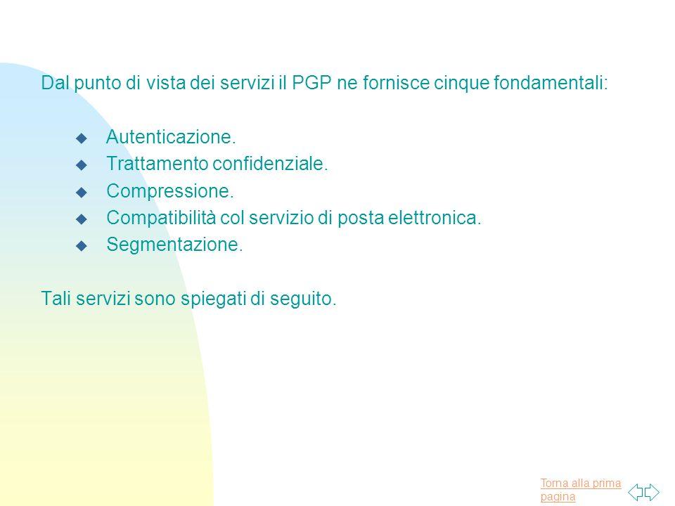 Dal punto di vista dei servizi il PGP ne fornisce cinque fondamentali: