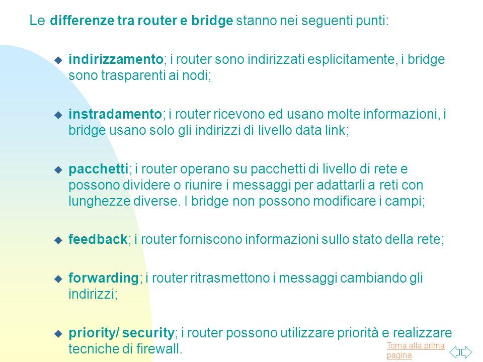 Le differenze tra router e bridge stanno nei seguenti punti: