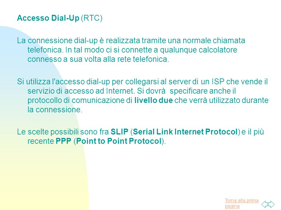 Accesso Dial-Up (RTC)