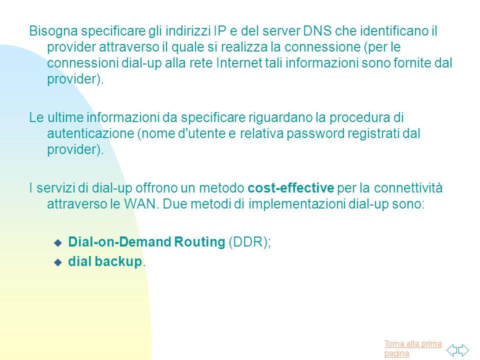 Bisogna specificare gli indirizzi IP e del server DNS che identificano il provider attraverso il quale si realizza la connessione (per le connessioni dial-up alla rete Internet tali informazioni sono fornite dal provider).