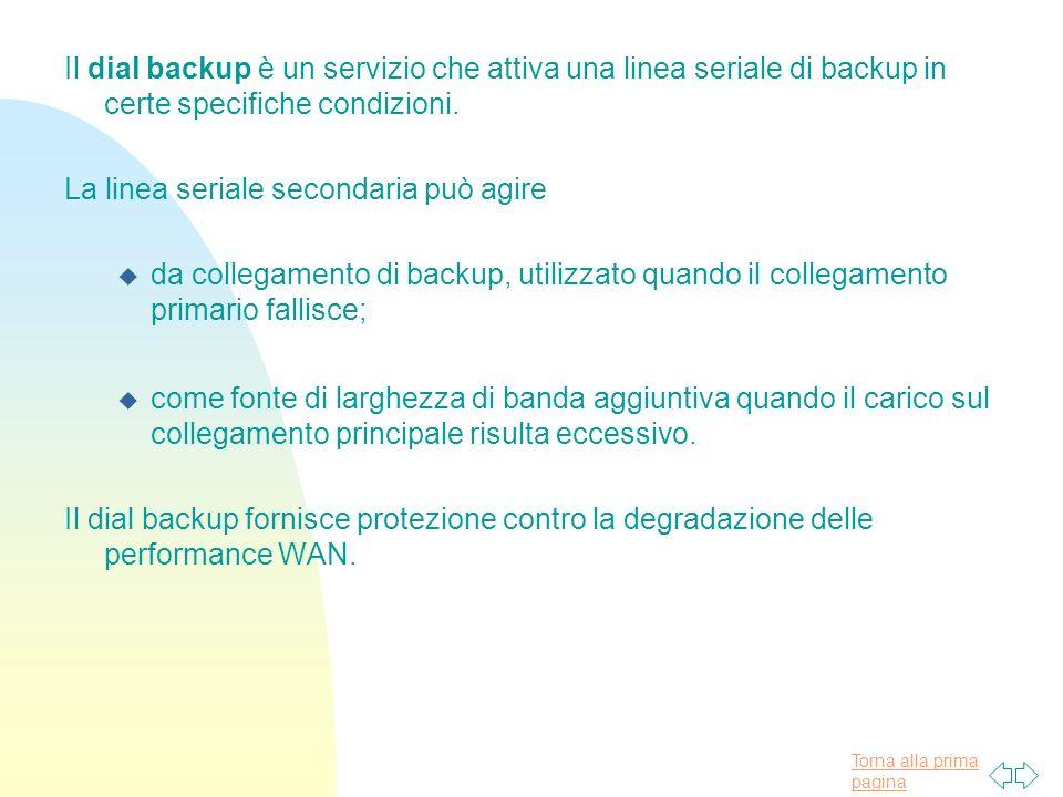 Il dial backup è un servizio che attiva una linea seriale di backup in certe specifiche condizioni.