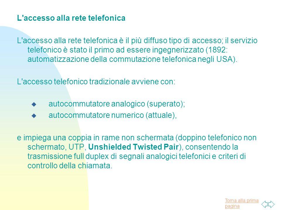 L accesso alla rete telefonica