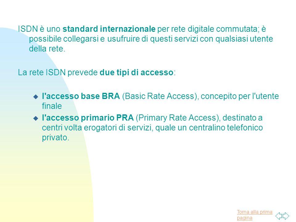 ISDN è uno standard internazionale per rete digitale commutata; è possibile collegarsi e usufruire di questi servizi con qualsiasi utente della rete.