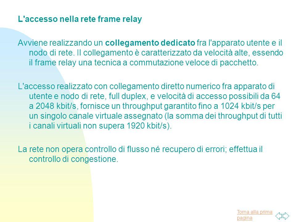 L accesso nella rete frame relay