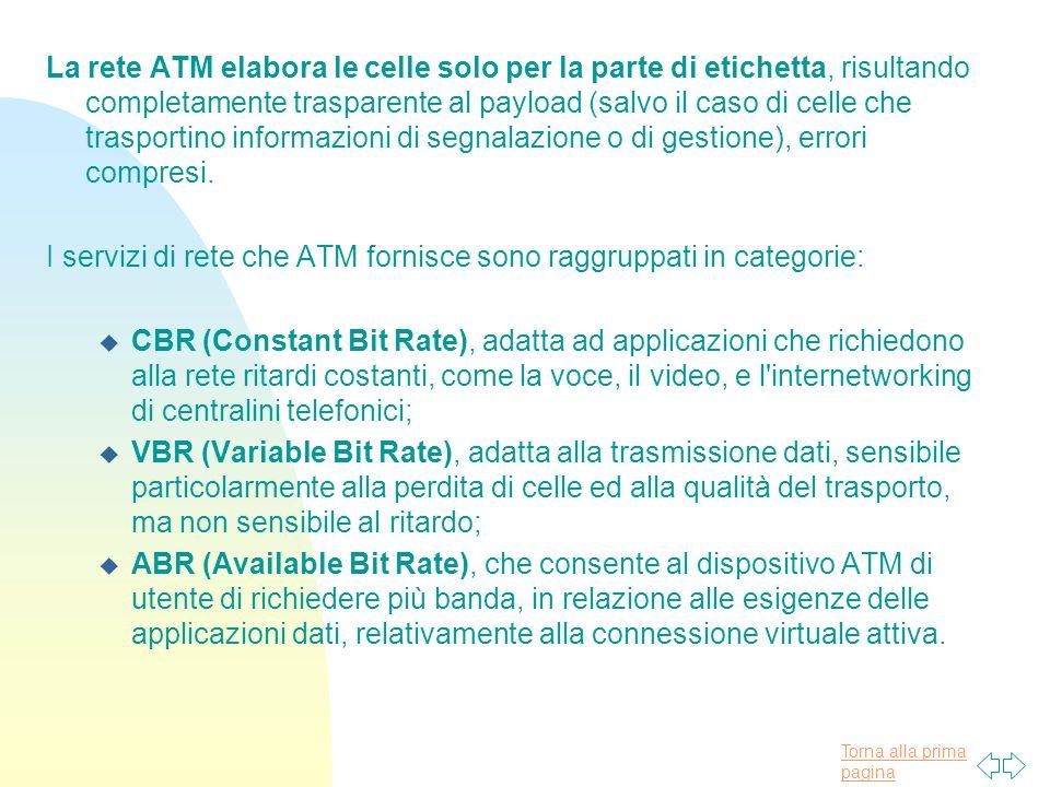 La rete ATM elabora le celle solo per la parte di etichetta, risultando completamente trasparente al payload (salvo il caso di celle che trasportino informazioni di segnalazione o di gestione), errori compresi.