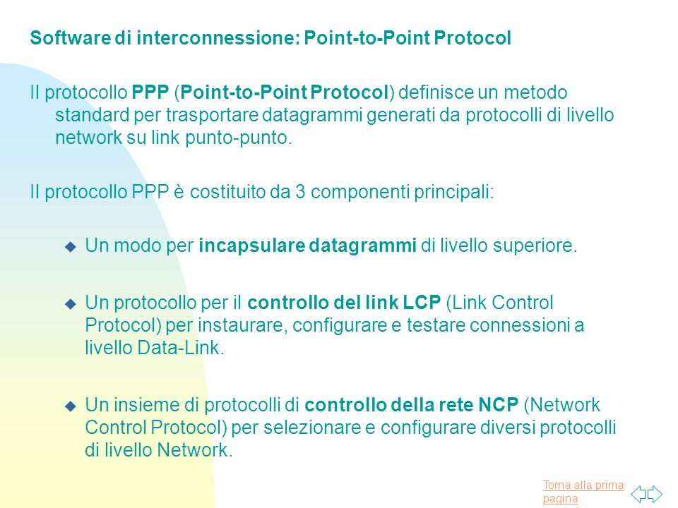 Software di interconnessione: Point-to-Point Protocol