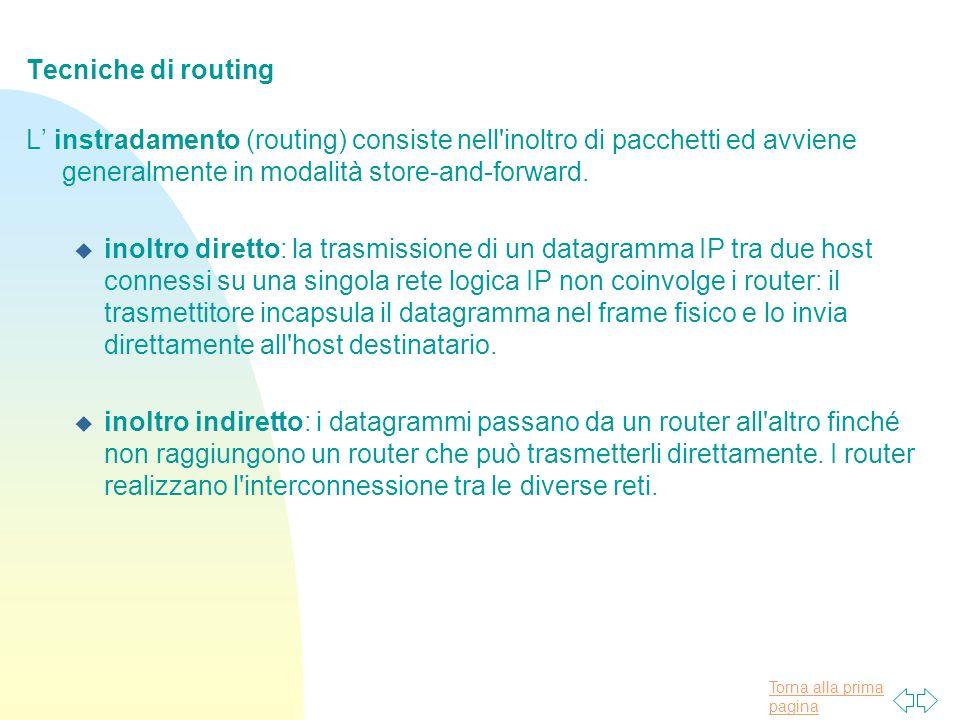 Tecniche di routing L' instradamento (routing) consiste nell inoltro di pacchetti ed avviene generalmente in modalità store-and-forward.