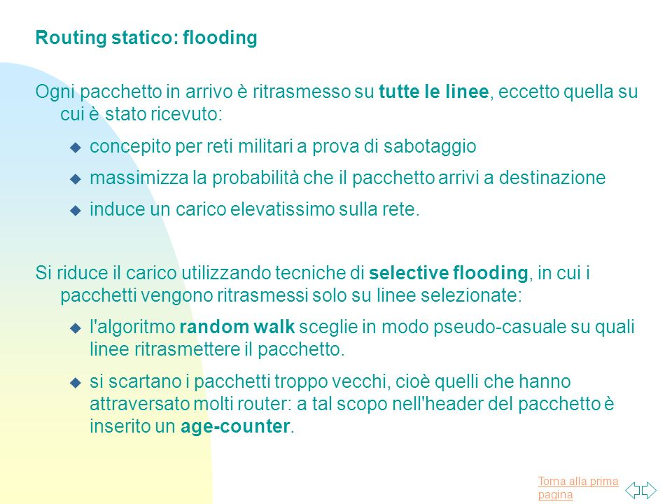 Routing statico: flooding