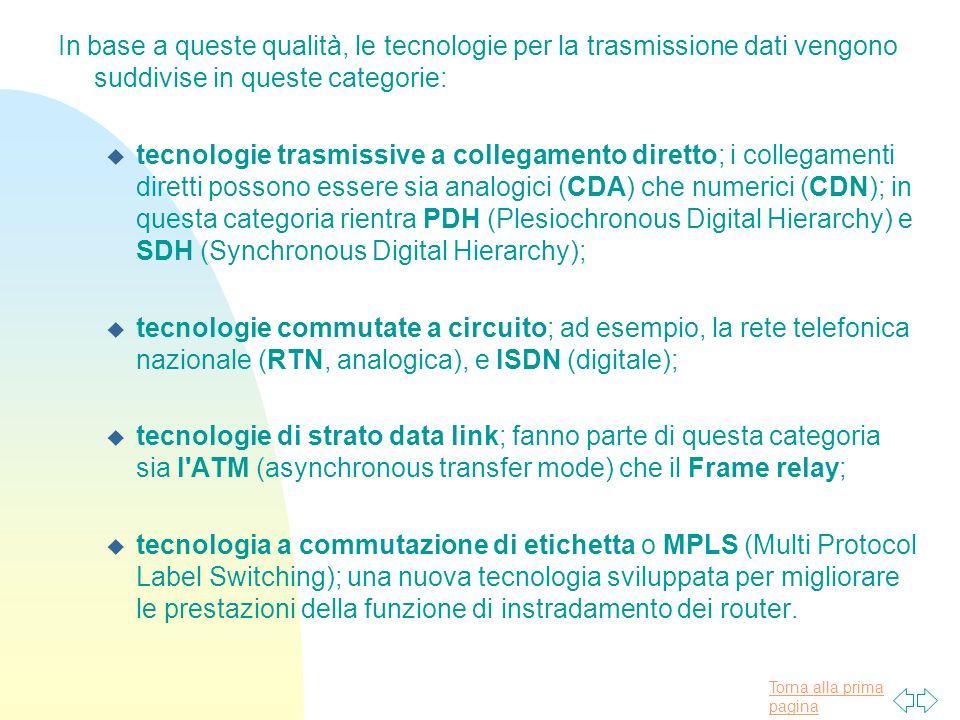 In base a queste qualità, le tecnologie per la trasmissione dati vengono suddivise in queste categorie: