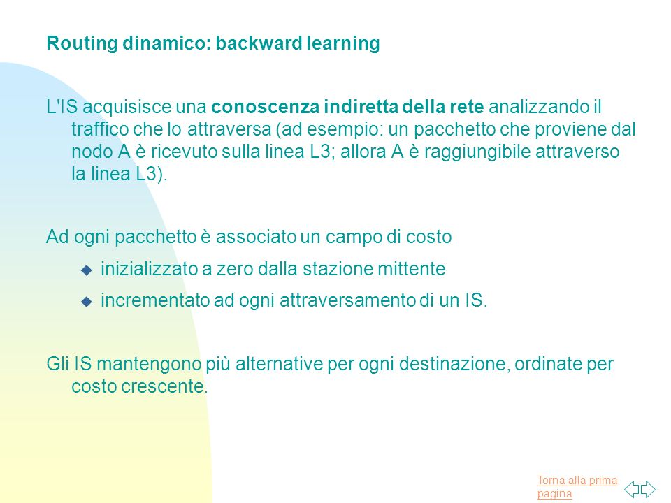 Routing dinamico: backward learning