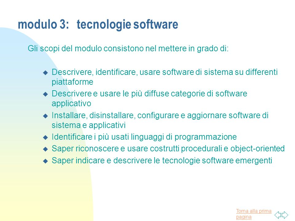 modulo 3: tecnologie software