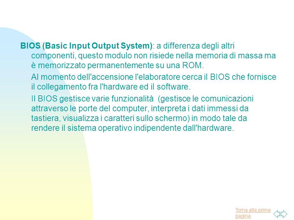 BIOS (Basic Input Output System): a differenza degli altri componenti, questo modulo non risiede nella memoria di massa ma è memorizzato permanentemente su una ROM.