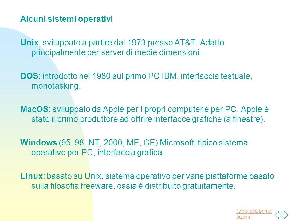 Alcuni sistemi operativi