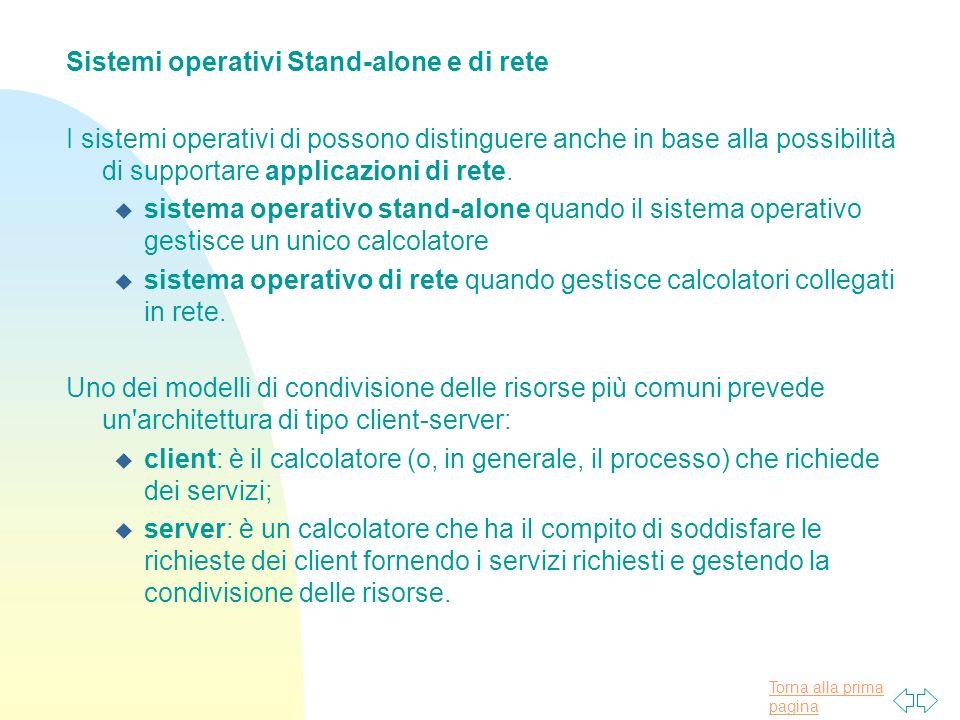 Sistemi operativi Stand-alone e di rete
