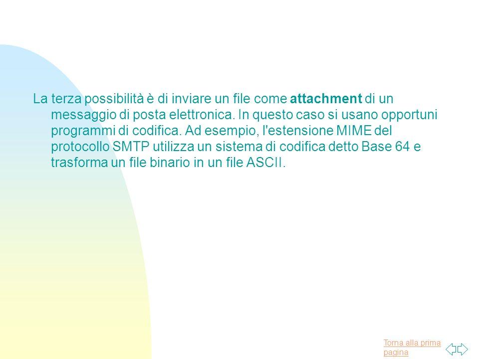 La terza possibilità è di inviare un file come attachment di un messaggio di posta elettronica.