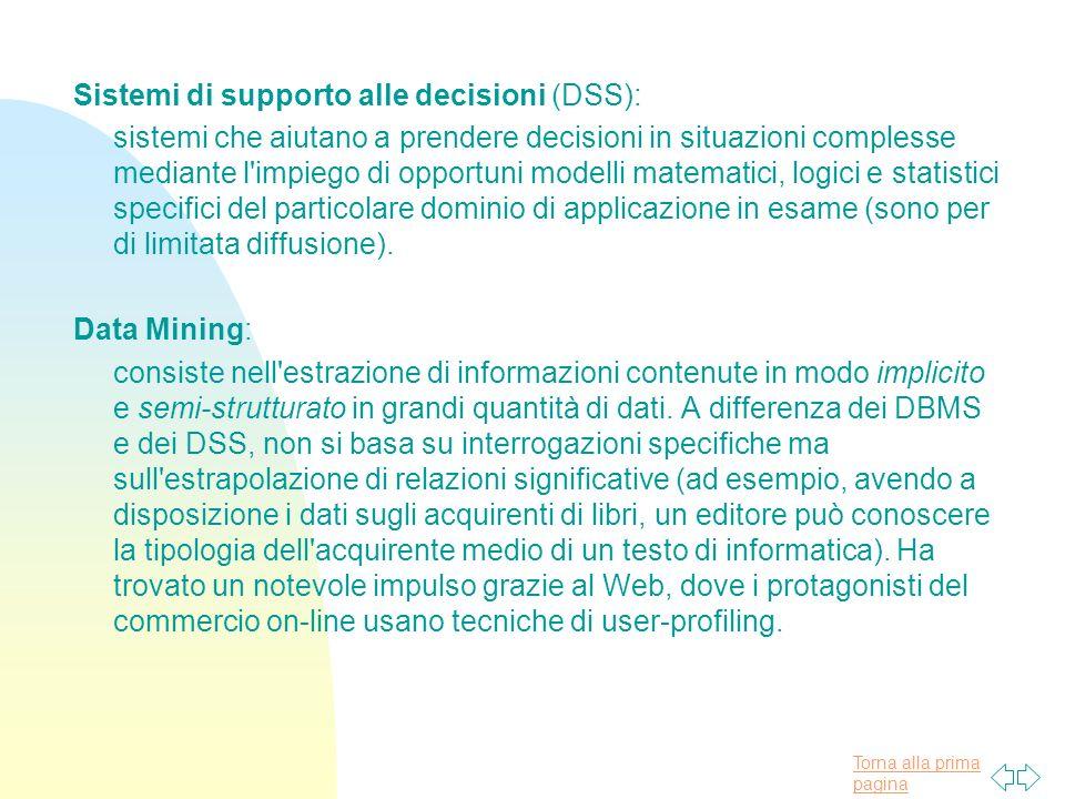 Sistemi di supporto alle decisioni (DSS):