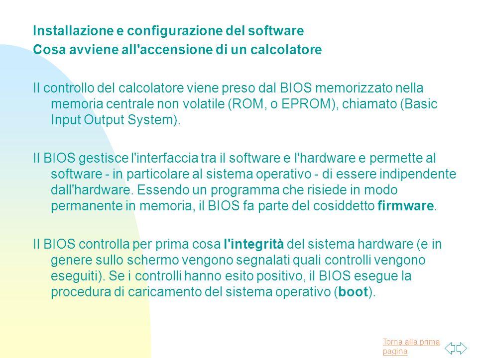 Installazione e configurazione del software