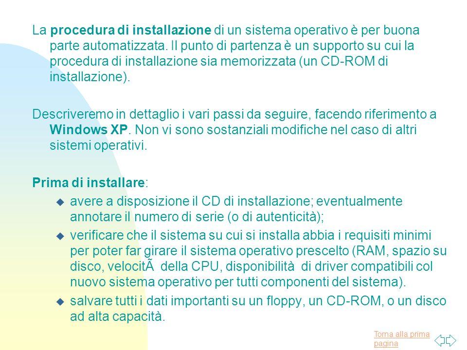La procedura di installazione di un sistema operativo è per buona parte automatizzata. Il punto di partenza è un supporto su cui la procedura di installazione sia memorizzata (un CD-ROM di installazione).
